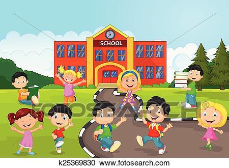 Happy school children cartoon in fr Clipart.