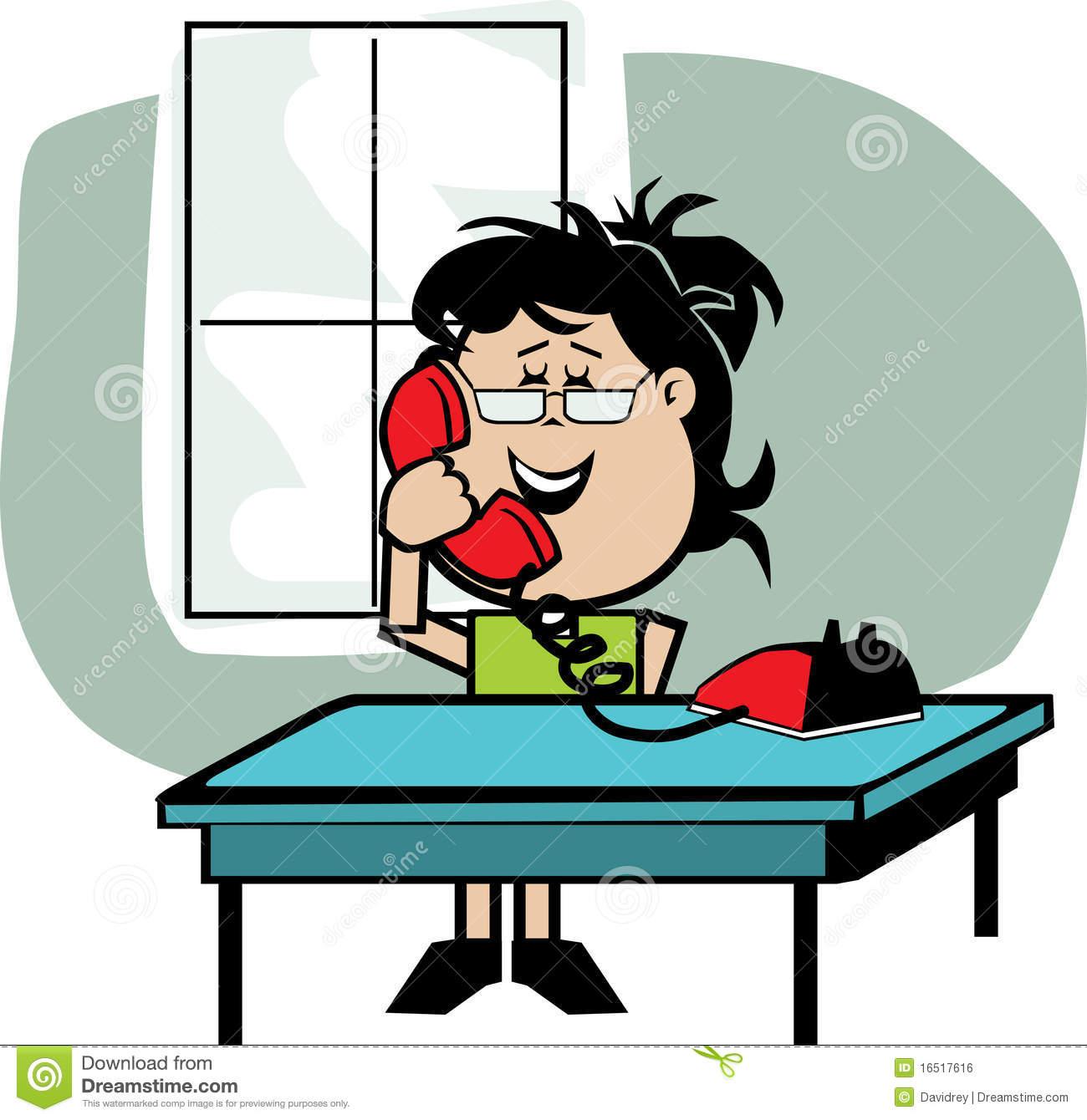 Secretary on the phone stock vector. Illustration of secretary.