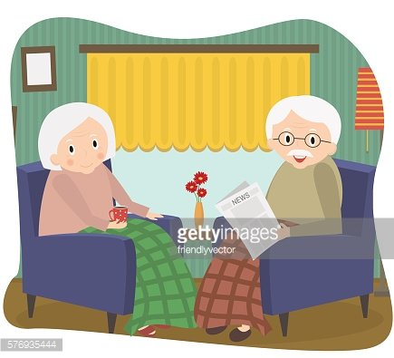 Happy old couple together. Seniors couple sits in a chair.