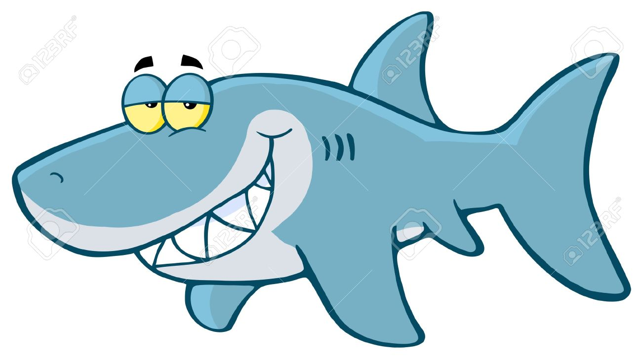 Happy Shark Cartoon Character.