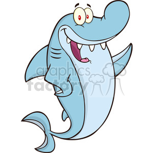 Royalty Free RF Clipart Illustration Happy Shark Cartoon Character Waving  clipart. Royalty.