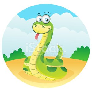 Happy Snake in grassland Clipart Image.