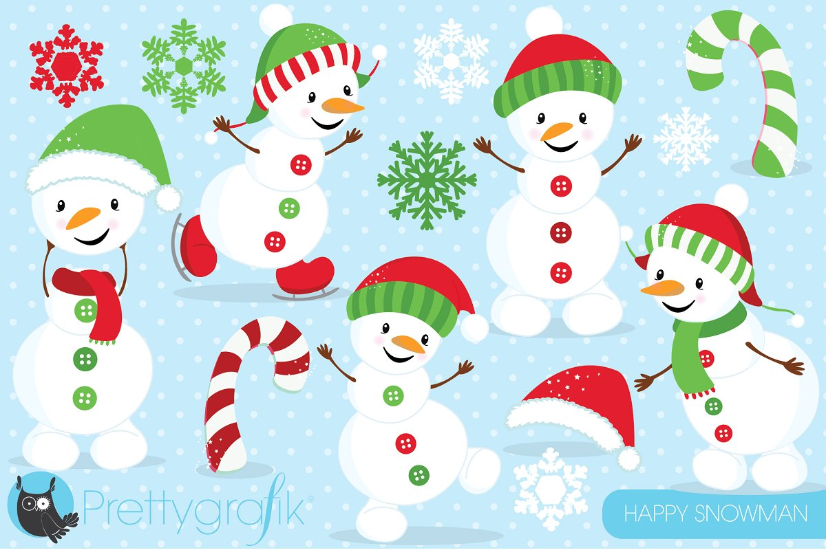 Happy Snowman clipart commercial.