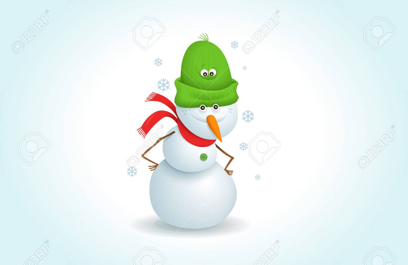 cartoon snowman clipart. happy snowman stands in snowy weather.