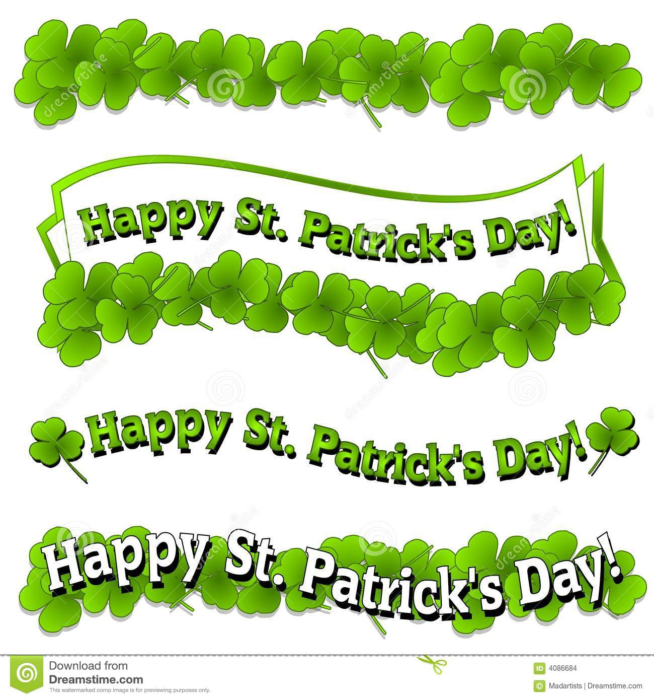 Happy St. Patrick's Day Banners Logos Stock Illustration.