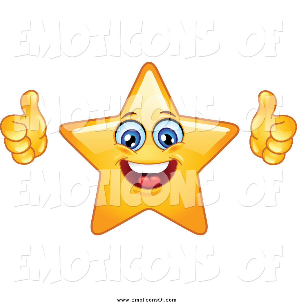 Clip Art Vector of a Happy Star Emoticon Giving Two Thumbs up by.