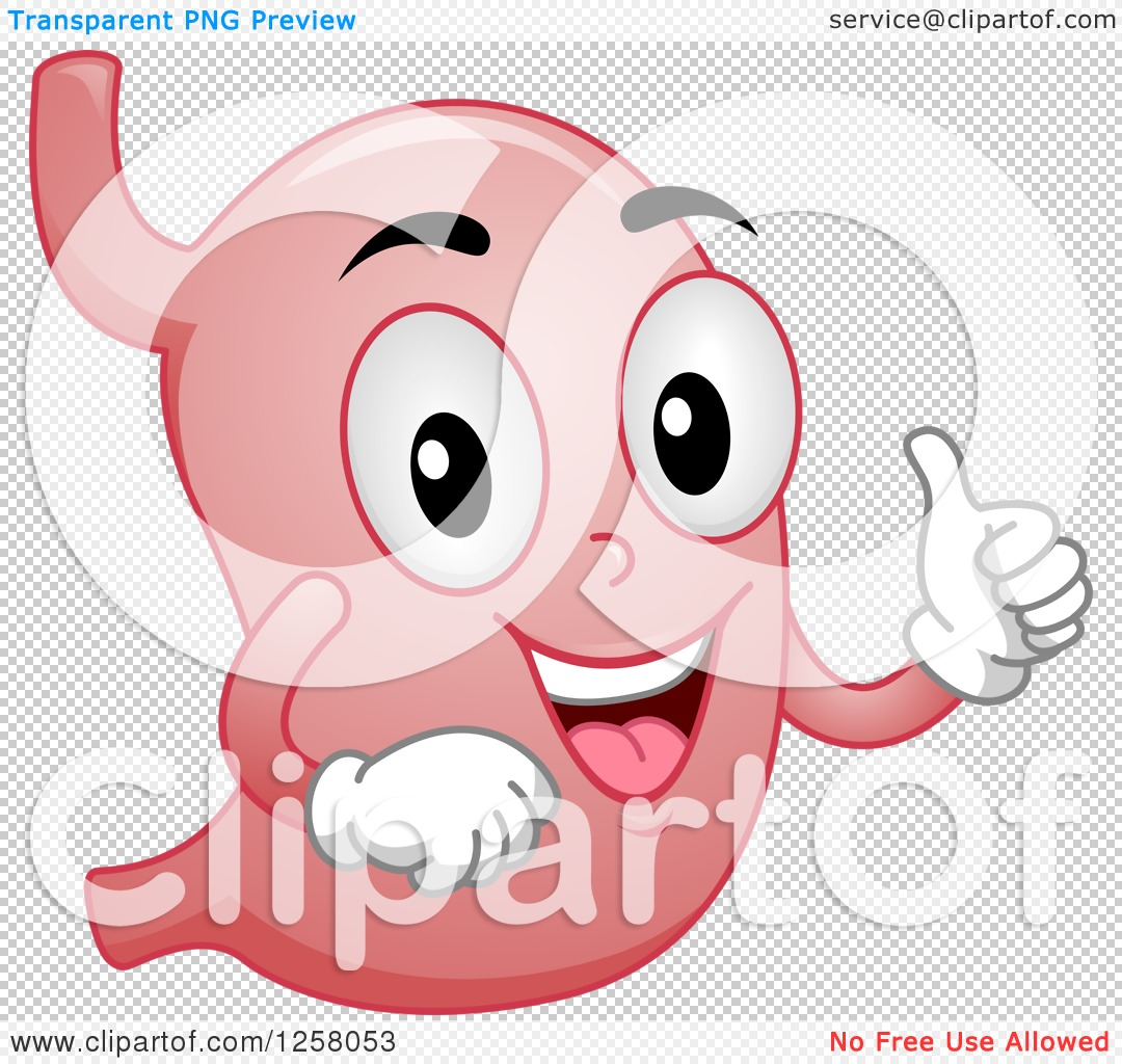 Clipart of a Happy Stomach Character Holding a Thumb up.
