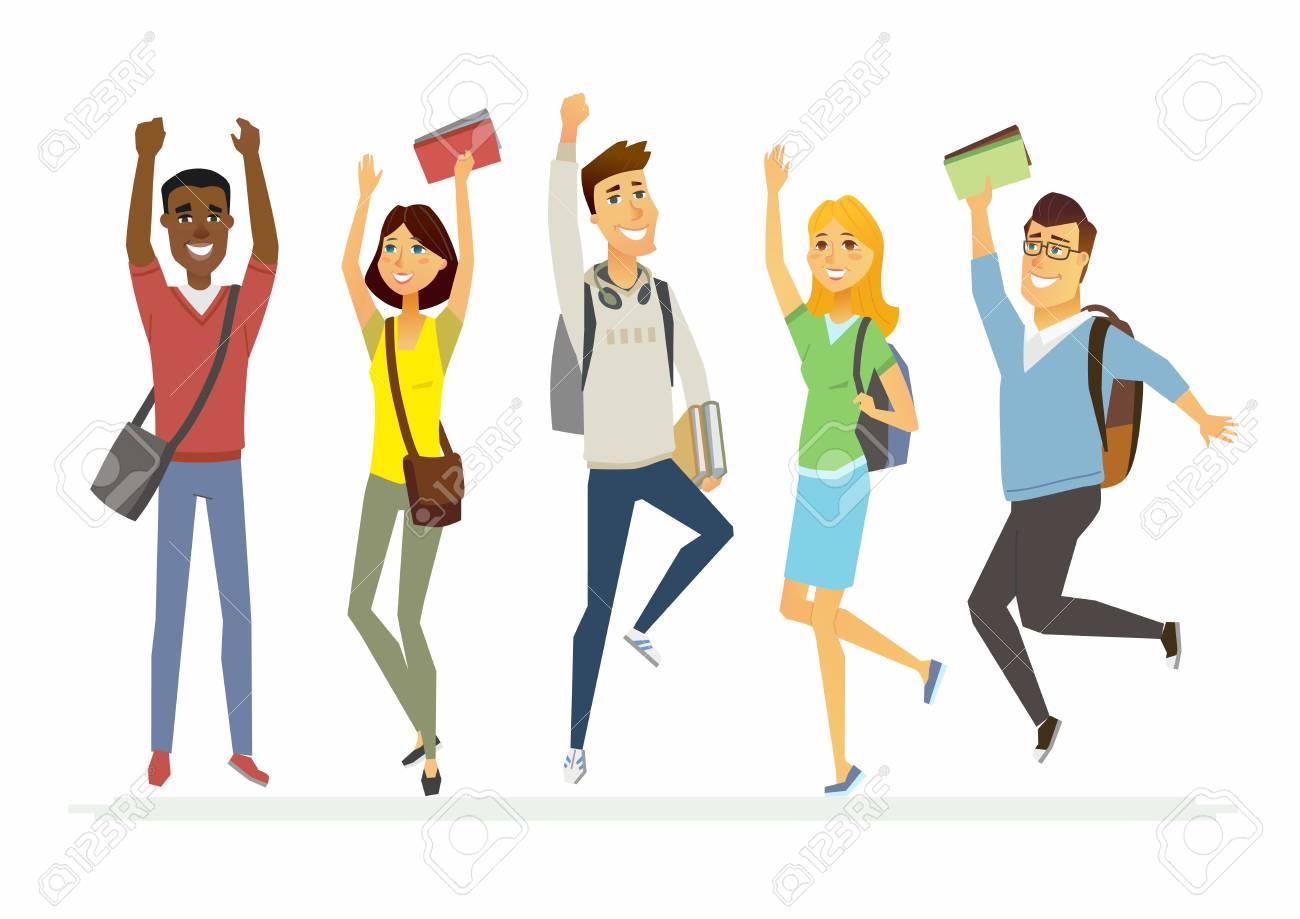 Happy jumping senior school students.