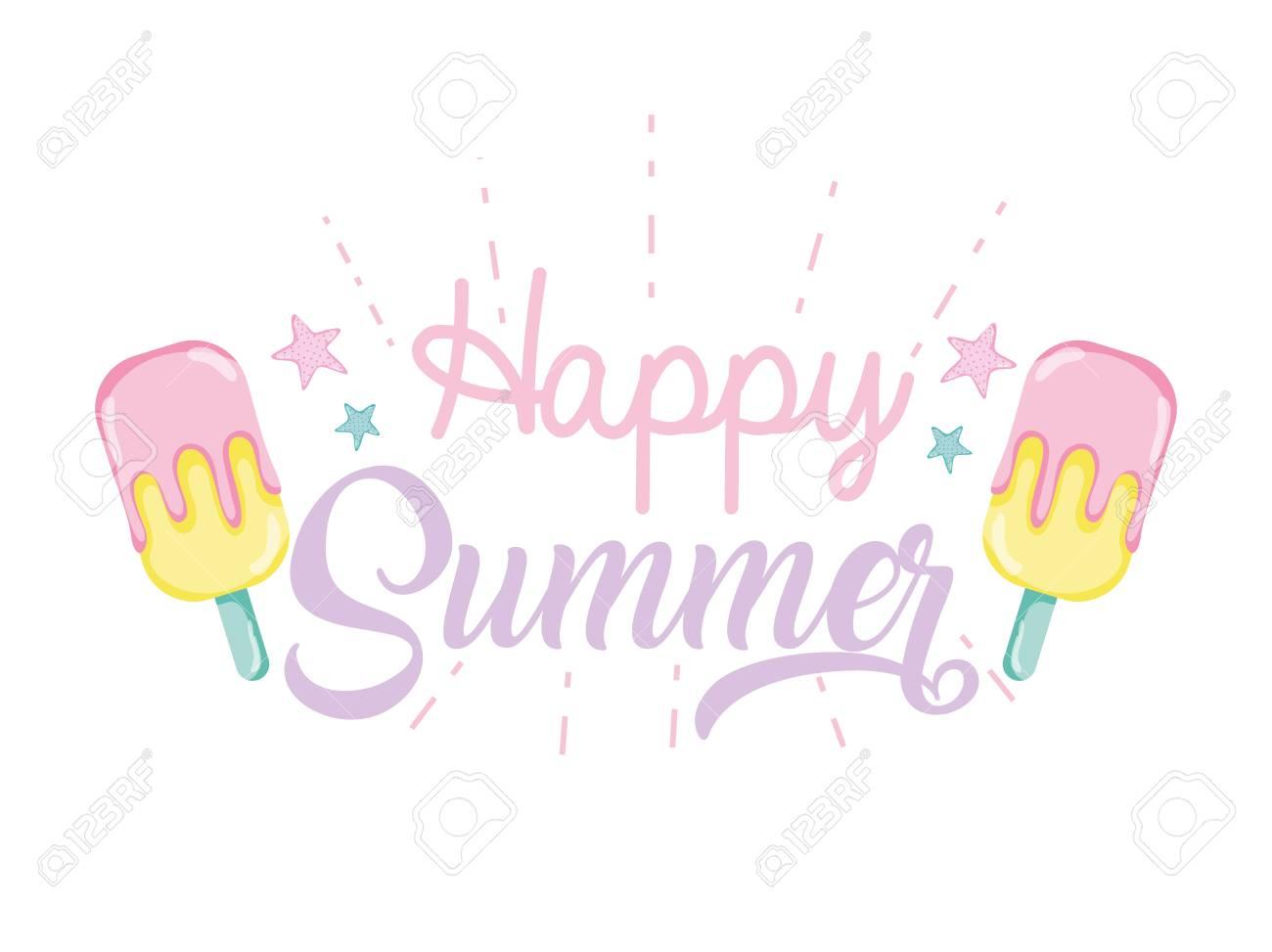 Happy summer banner illustration graphic design.