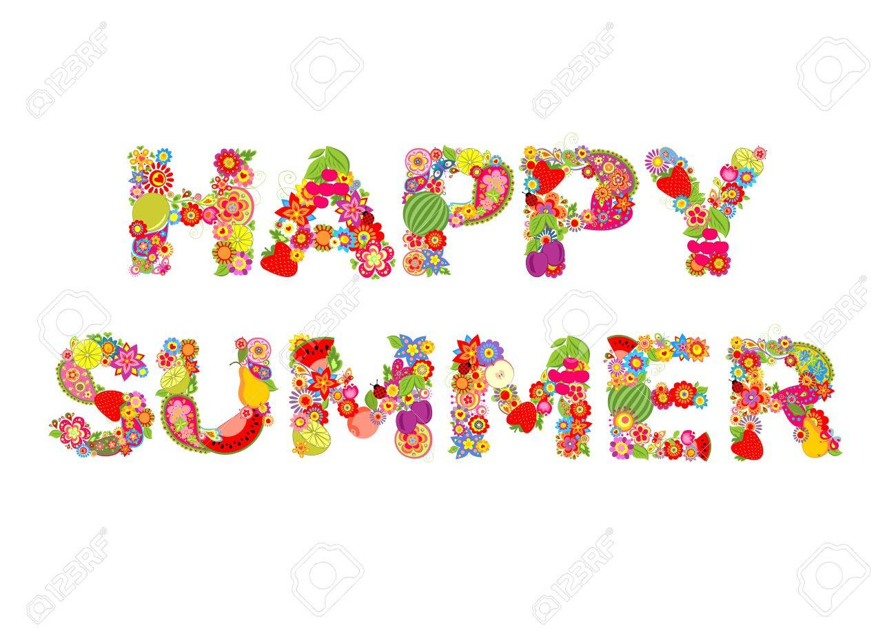 Happy summer. Flowers and fruits print.