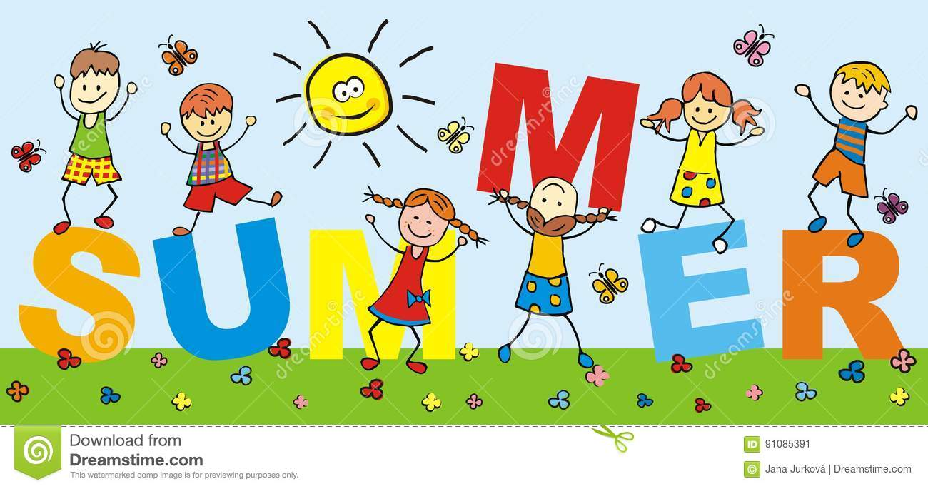 Happy Kids, Holiday, Summer,word, Banner Stock Vector.