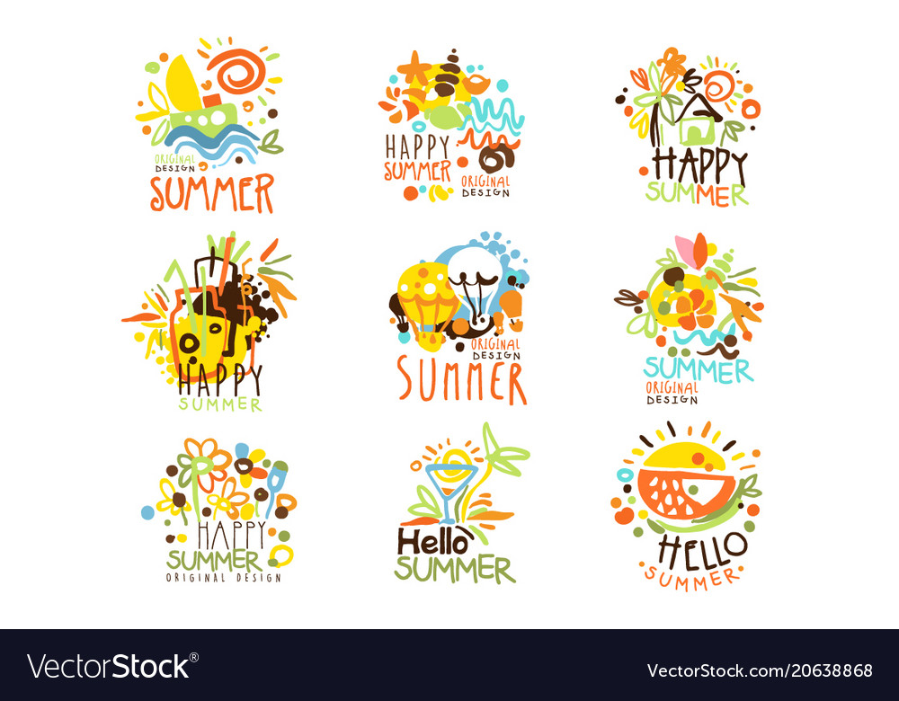Happy summer vacation sunny colorful graphic.