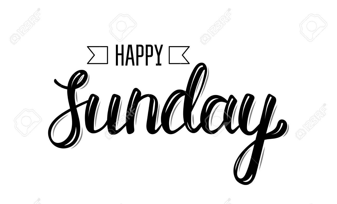 Happy sunday. Trendy hand lettering quote, fashion graphics,...
