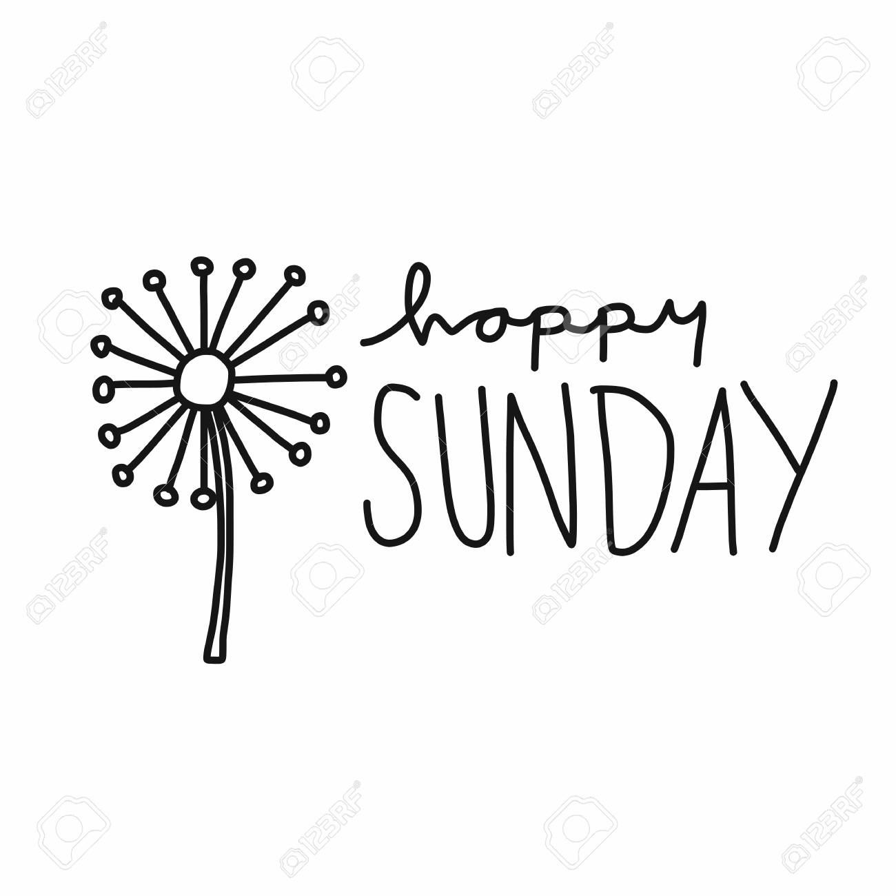 Happy Sunday word lettering and flower vector illustration, doodle...