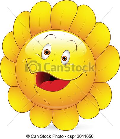 Clipart Vector of Happy Sunflower Smiley Face.
