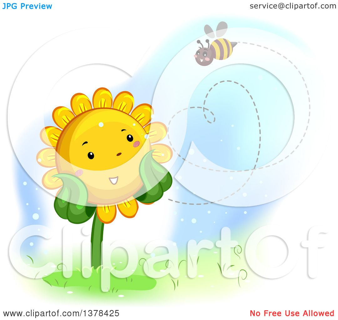 Clipart of a Happy Sunflower Watching a Bee Flyin in the Shape of.