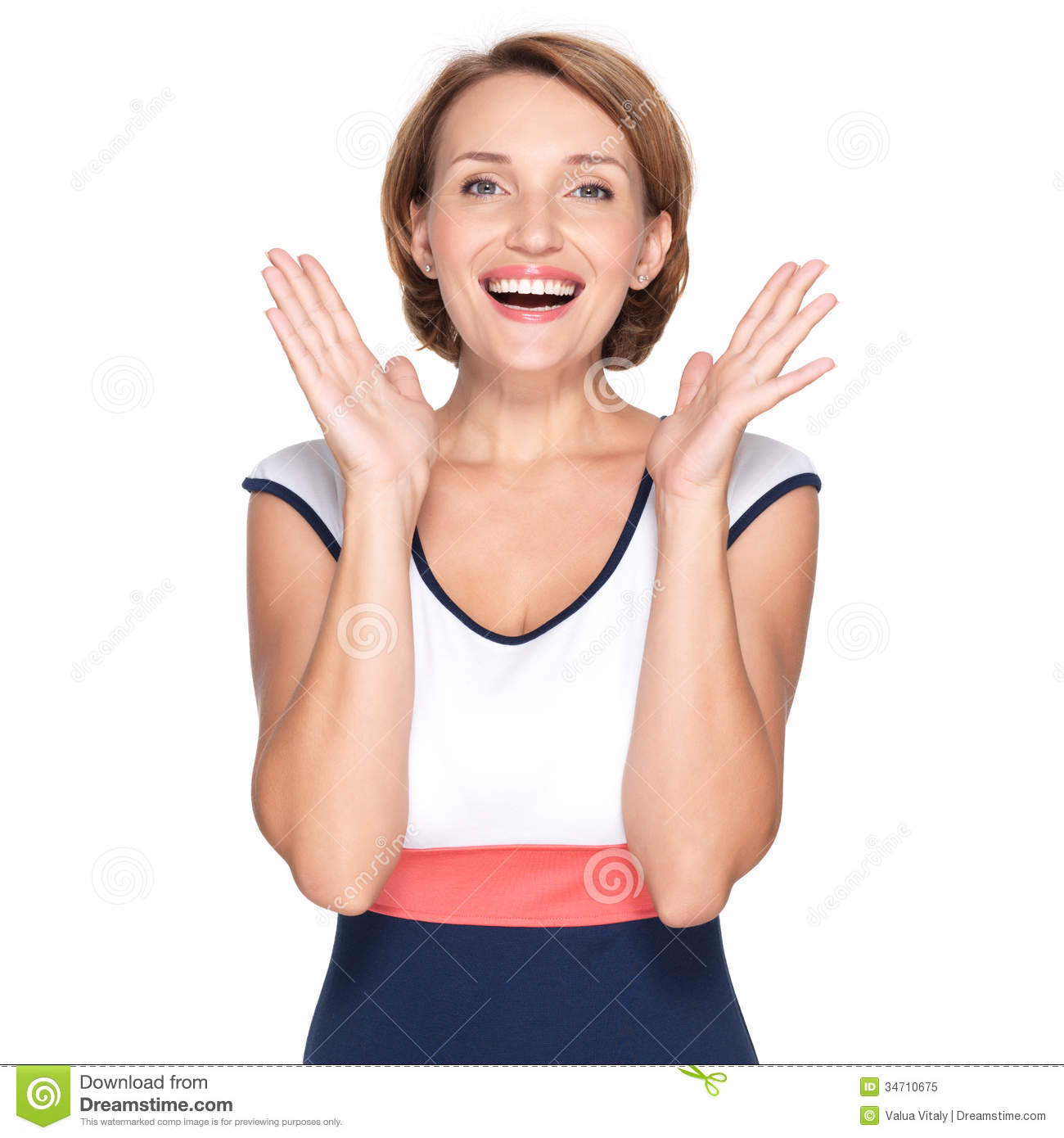 Portrait Of Surprised Woman With Positive Emotions Royalty Free.