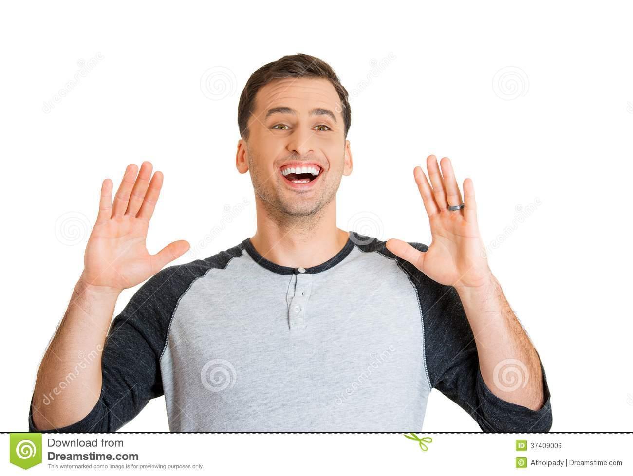 Happy Surprised Man Royalty Free Stock Image.
