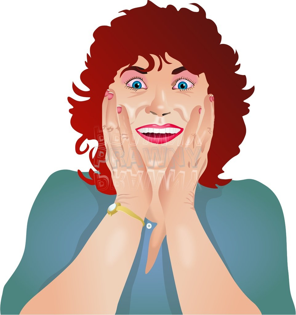Happy and Surprised Woman Prawny Clip Art People.