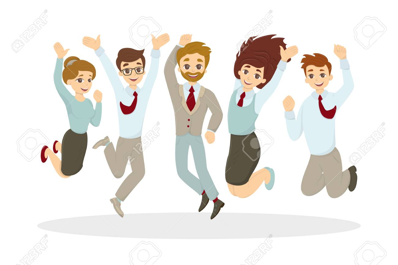 Happy jumping businessmen on white background. Successful team..