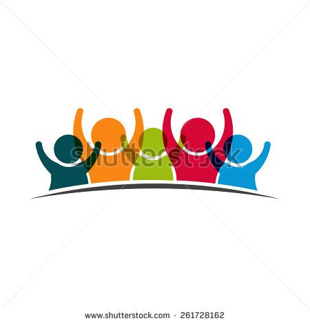 Teamwork Five Friends logo image. Concept of Group of People, happy.