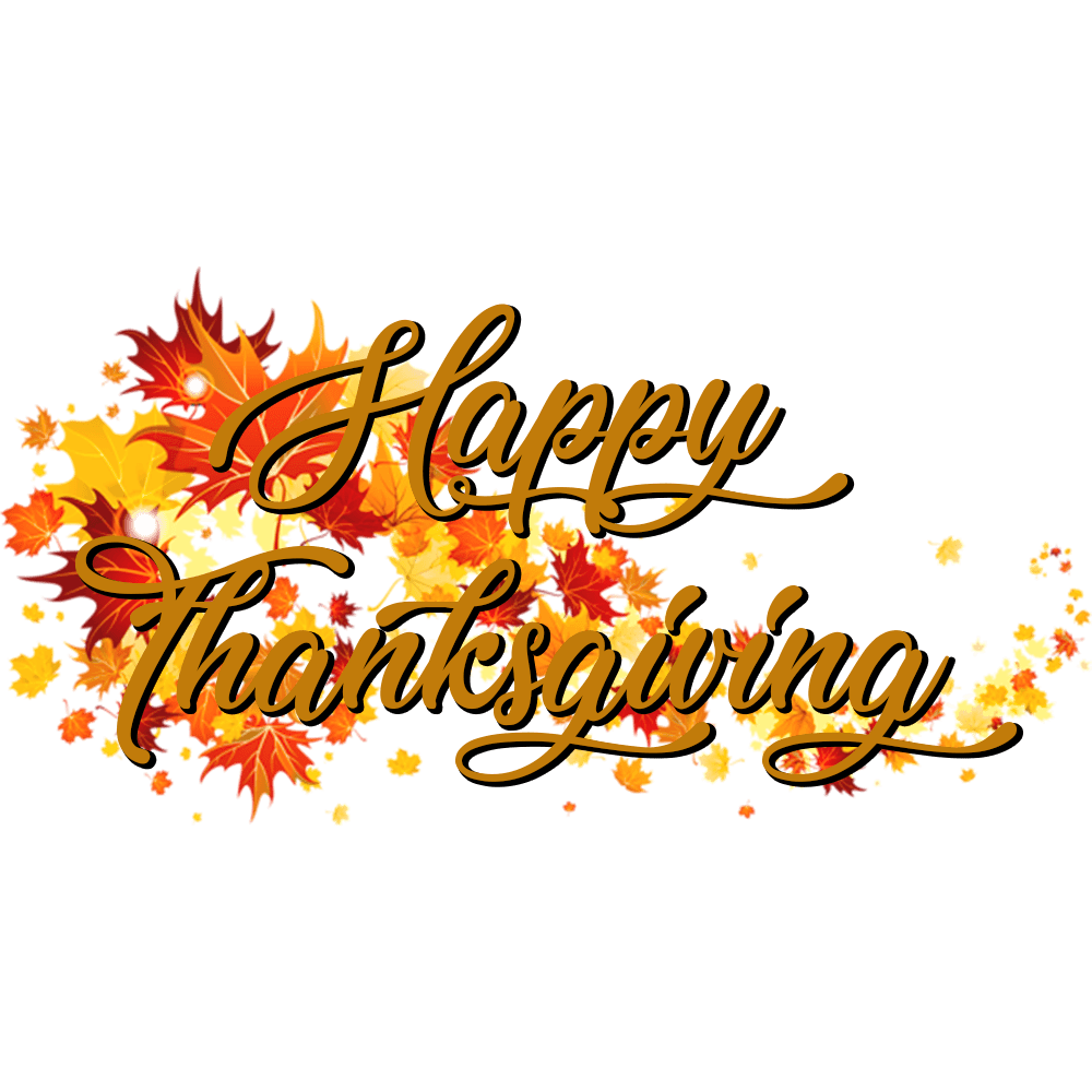 Happy Thanksgiving on A Banner Of Autumn Leaves transparent PNG.