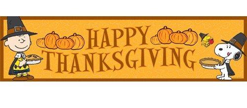 Amazon: Eureka Peanuts Classroom Banner, Happy Thanksgiving.