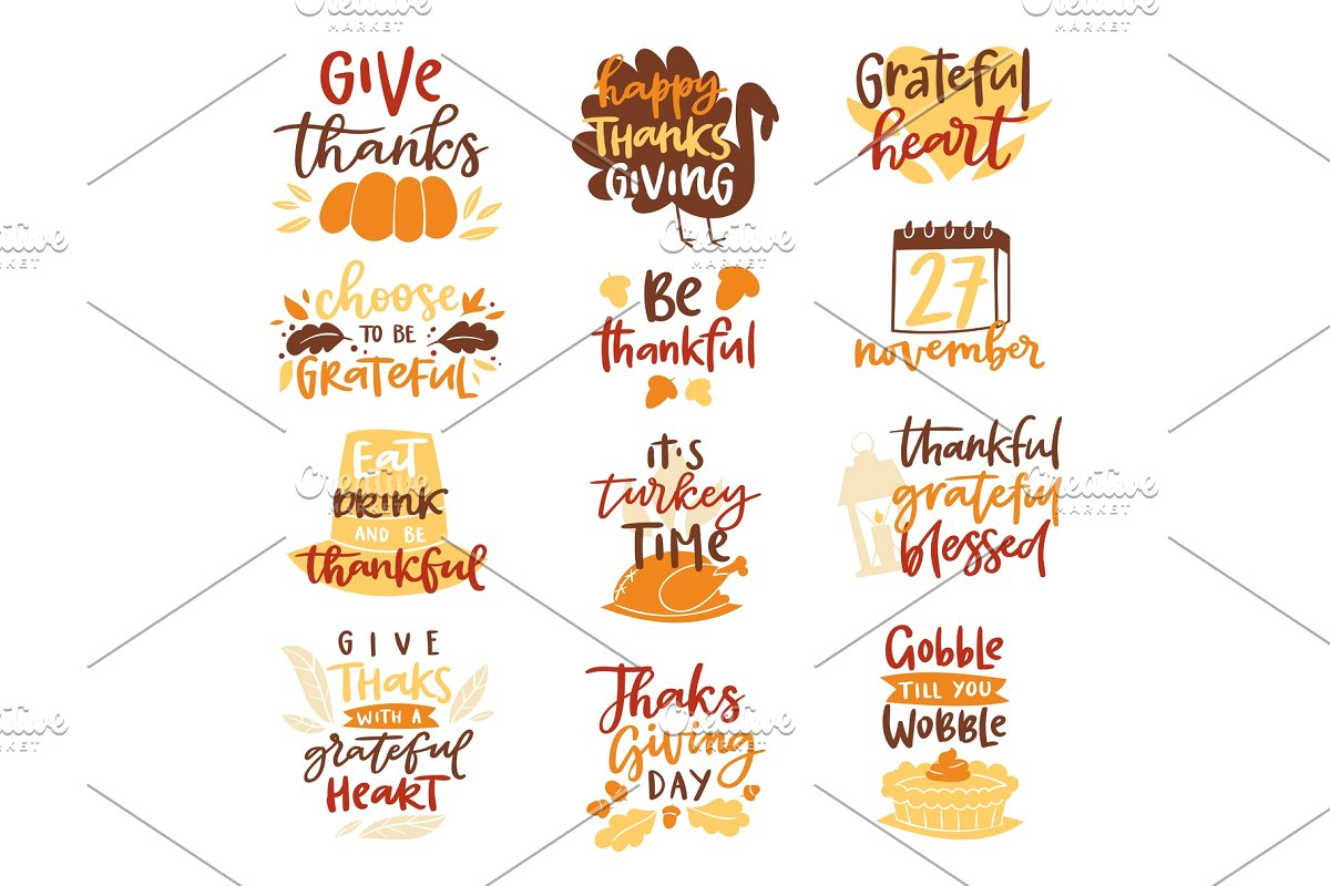 Happy Thanksgiving text logo vector lettering family dinner time together  celebrate harvest time to say Thanks to nature.