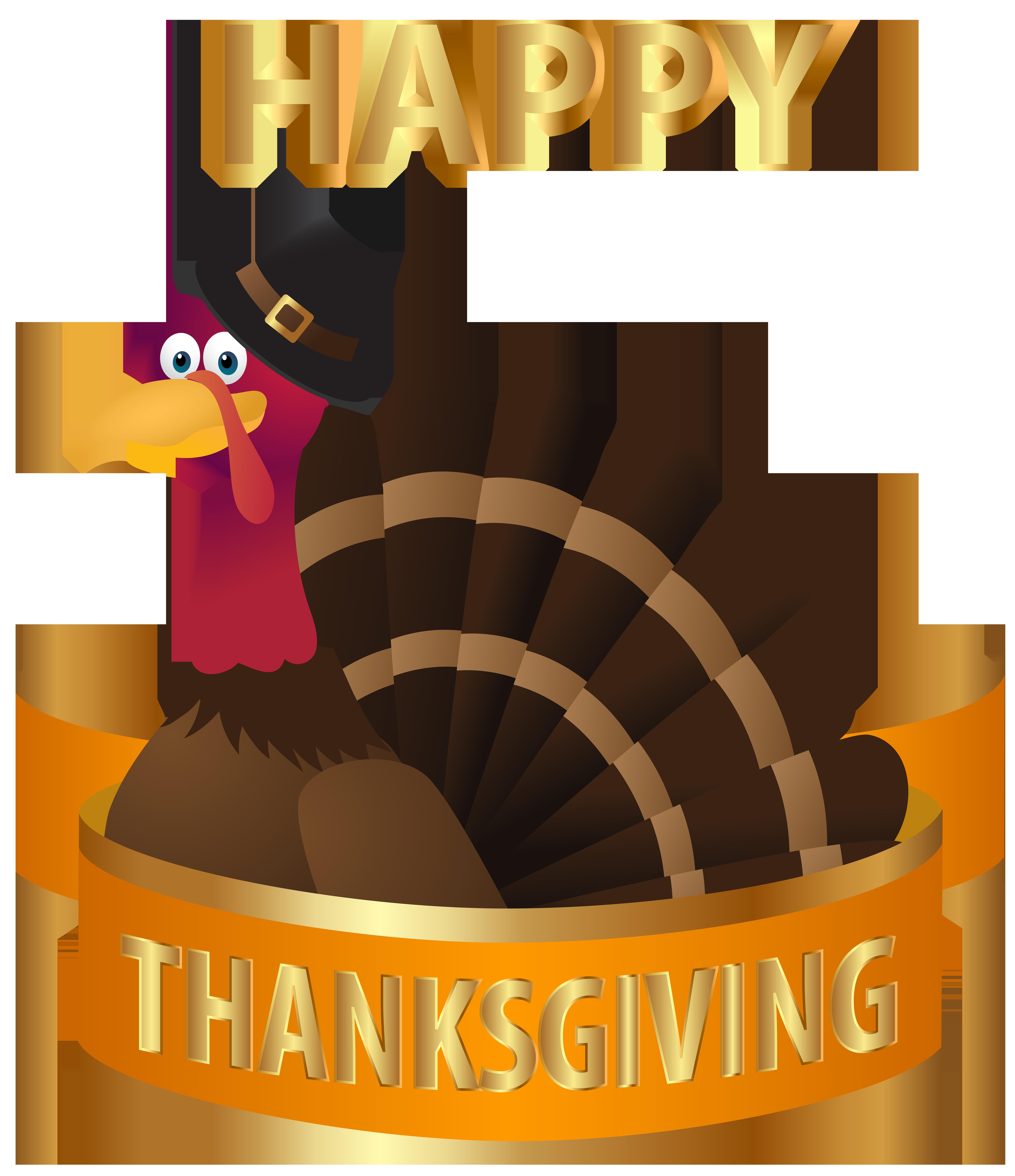 Happy Thanksgiving Turkey Transparent PNG Image.