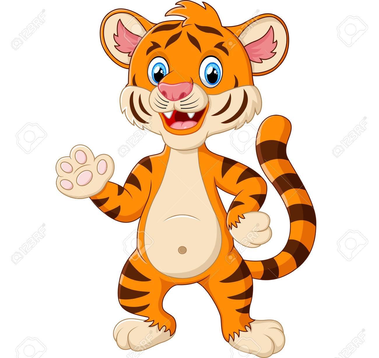 Happy tiger waving a hand.
