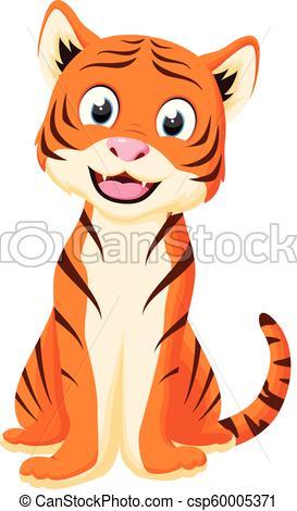 Happy Tiger Cartoon standing.