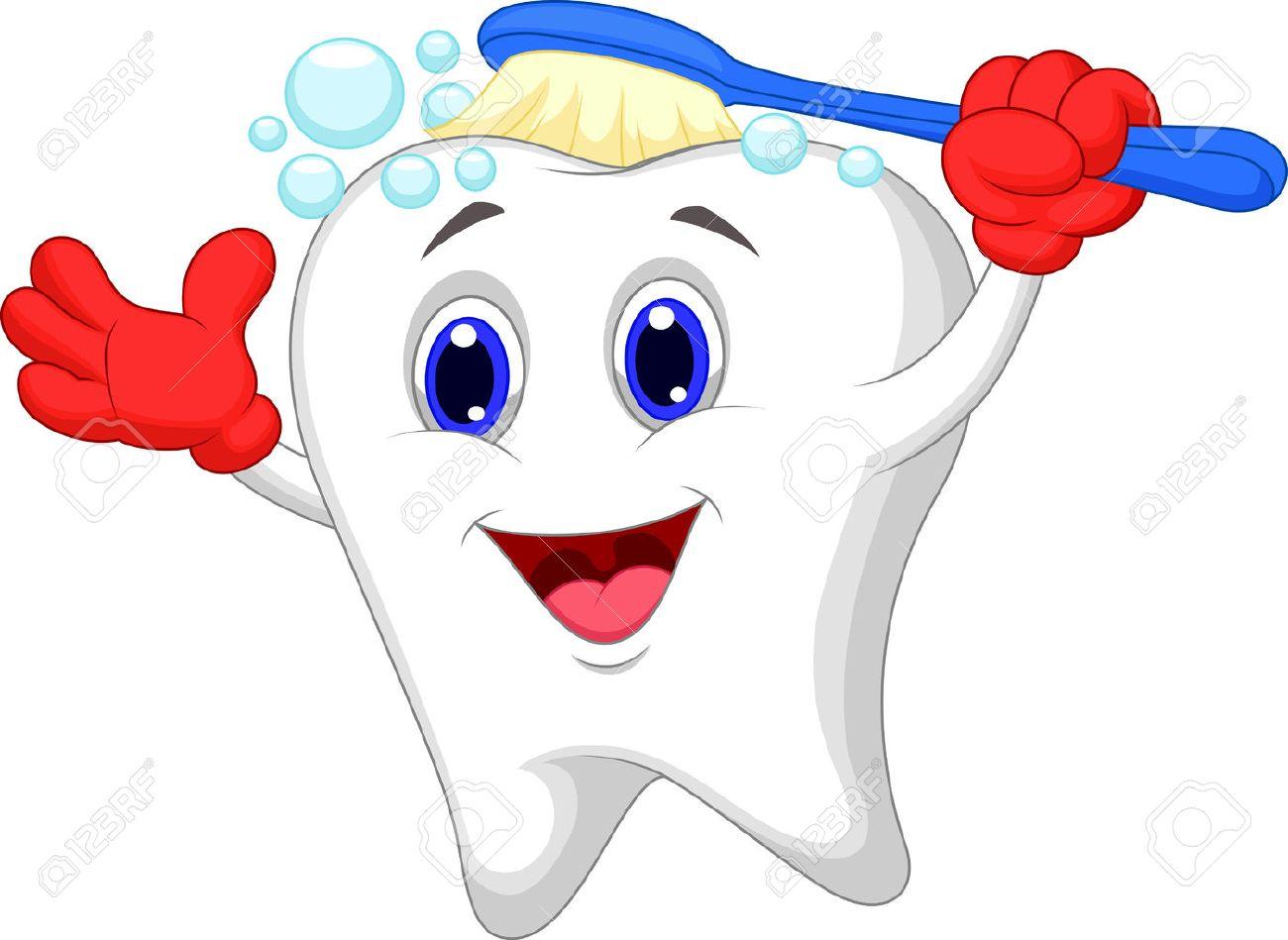 Happy tooth cartoon brushing.