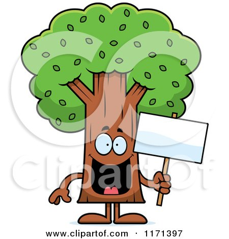 Cartoon Of A Happy Tree Mascot.