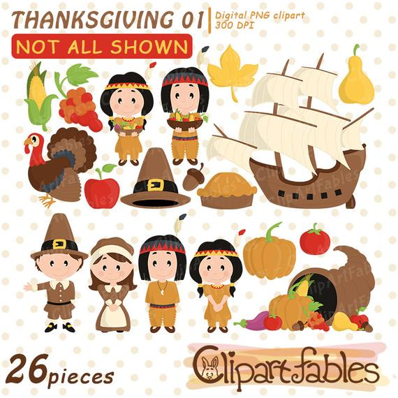 Happy Thanksgiving Day clip art, scrapbooking, turkey clipart, cute  cornucopia, Autumn, american clipart, digital clipart.