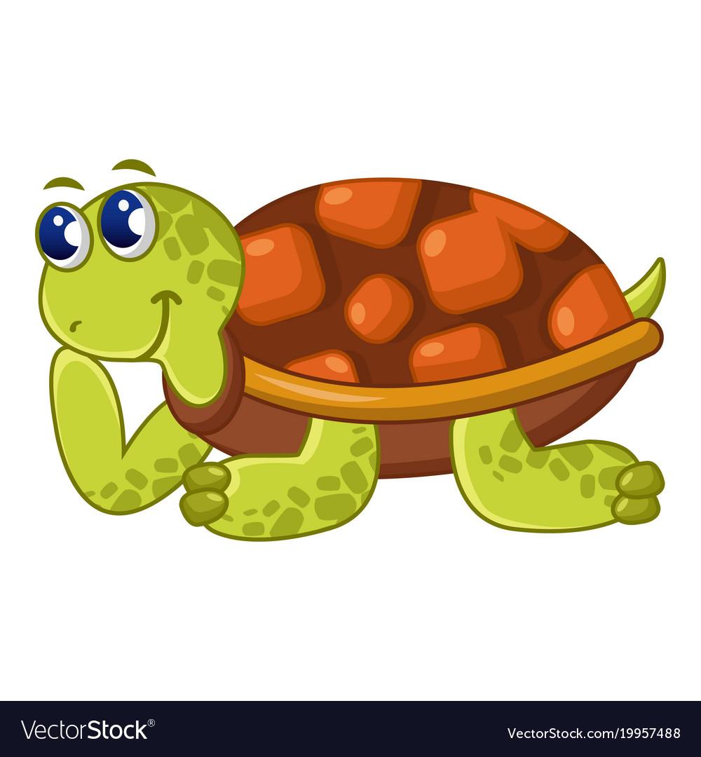 Happy turtle icon cartoon style.