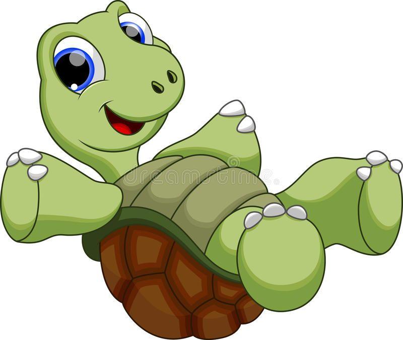 Happy turtle catoon. Cute turtle is swimming upside down.