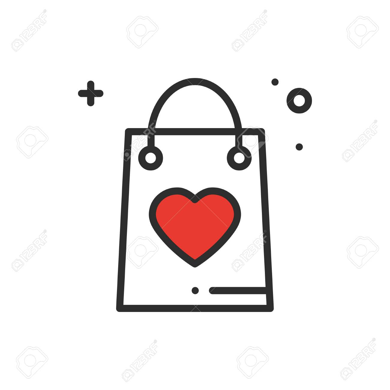 Shopping package line icon. Present, gift box. Happy Valentine...
