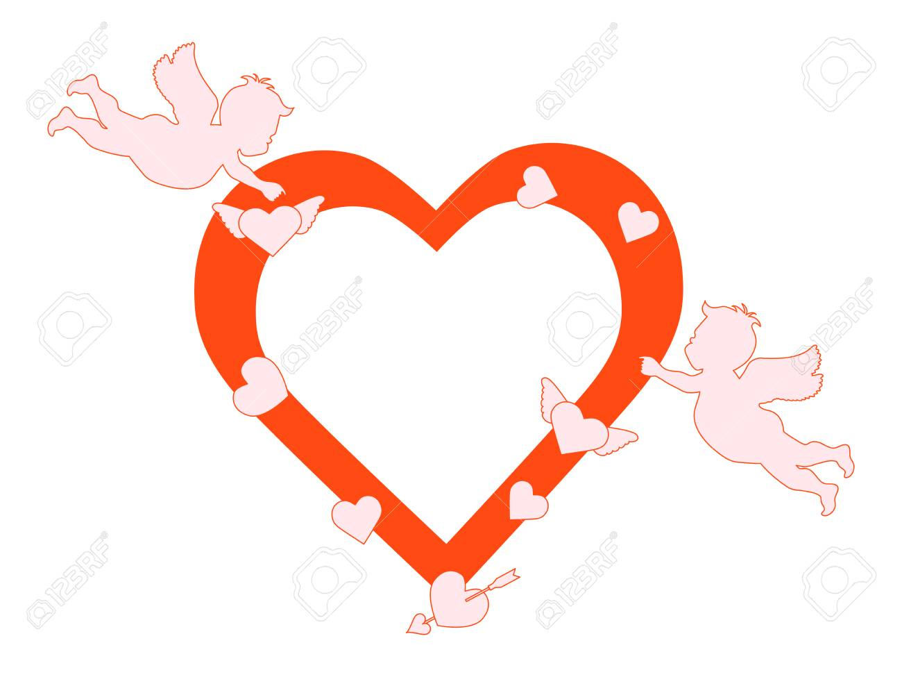 Vector illustration with cupids, hearts, arrow. Happy Valentine's...
