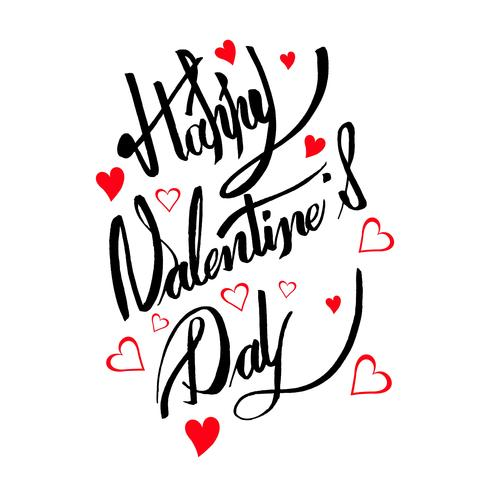Happy valentine\'s day card calligraphy text design.