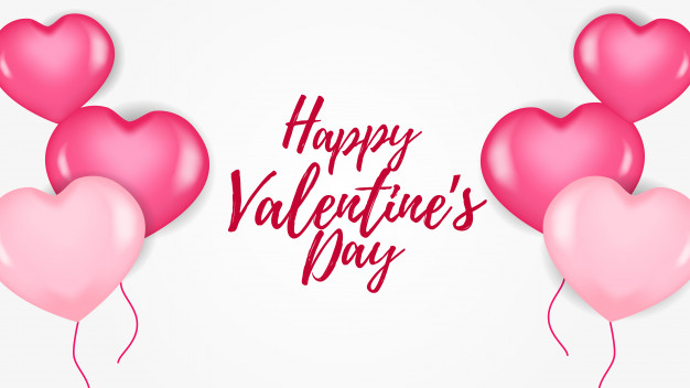 Happy valentine day banner with pink hearth balloon Vector.