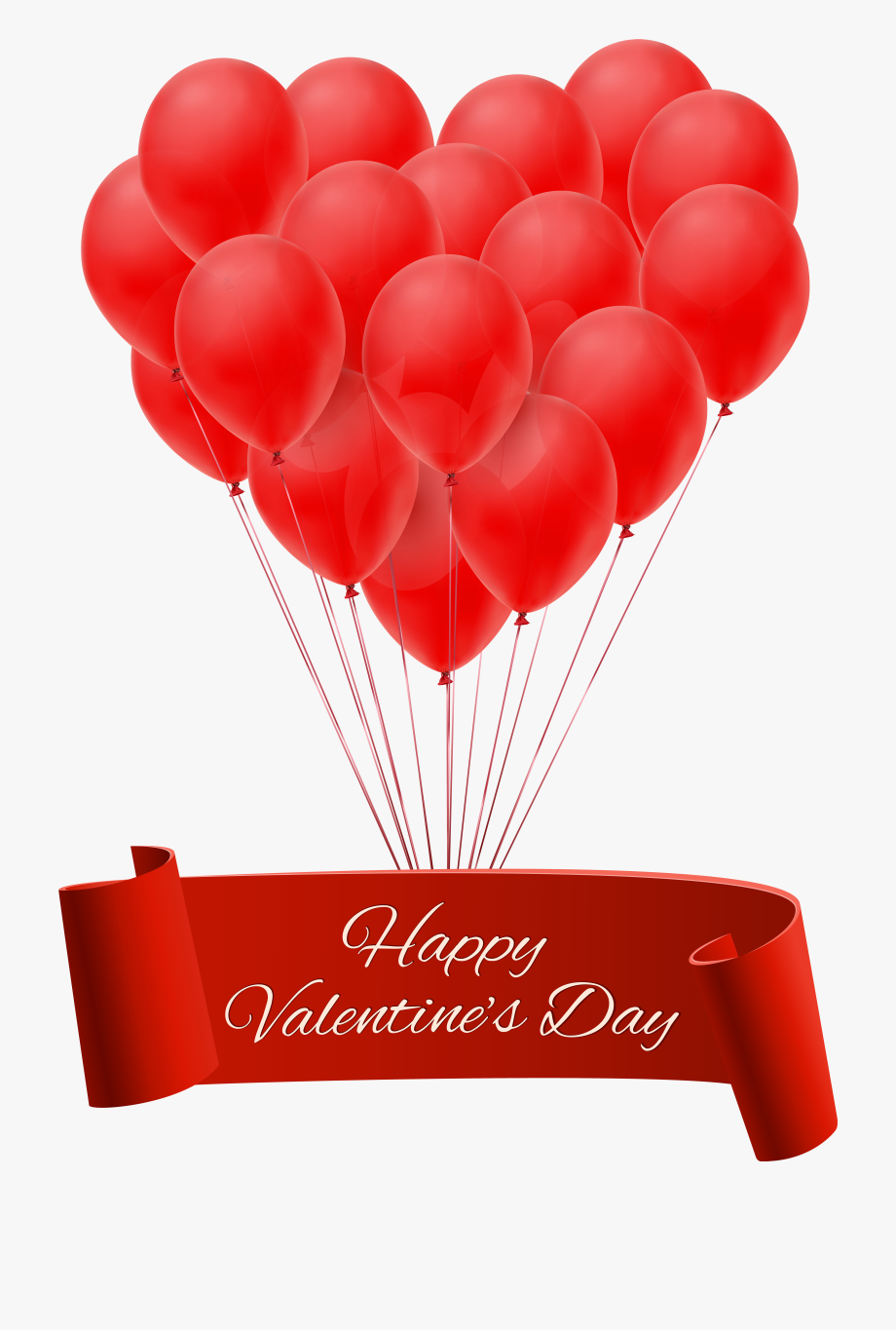 Happy Valentine S Day Banner With Balloons.