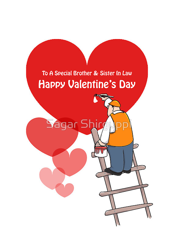 Valentine's Day Brother & Sister In Law Cards, Red Hearts Cartoon.