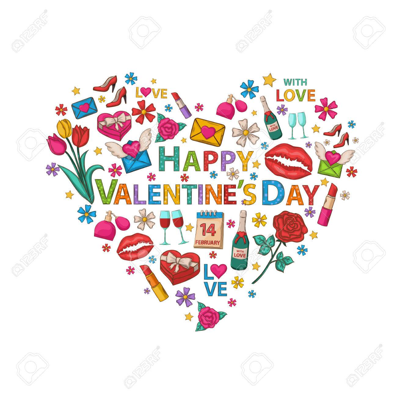 Happy Valentine's Day clip art set in the form of heart with...