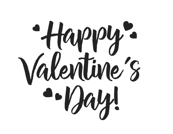 happy valentines day black and white words.