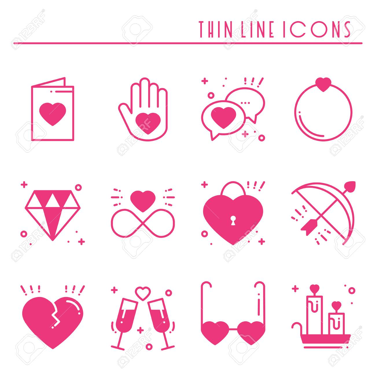 Love line icons set. Happy Valentine day pink silhouette signs...