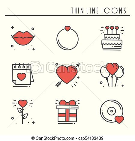 Love line icons set. Happy Valentine day signs and symbols. Love, couple,  relationship, dating, wedding, holiday, romantic amour theme. Heart, lips,.