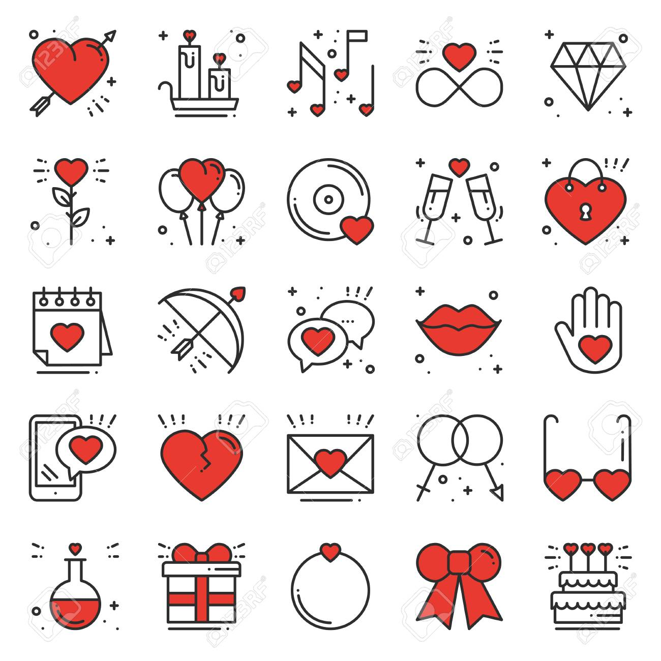 Love line icons set. Happy Valentine day signs and symbols. Love,...
