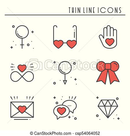 Love line icons set. Happy Valentine day signs and symbols. Love, couple,  relationship, dating, wedding, holiday, romantic amour theme. Heart, gift..