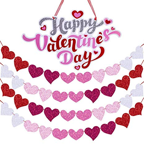 Supla 1 Pcs Happy Valentine\'s Day Door Signs Door Hangers Window Wall  Hanging Signs Welcome Signs and 26\' Long Glitter Hearts Garland Party  Hearts.