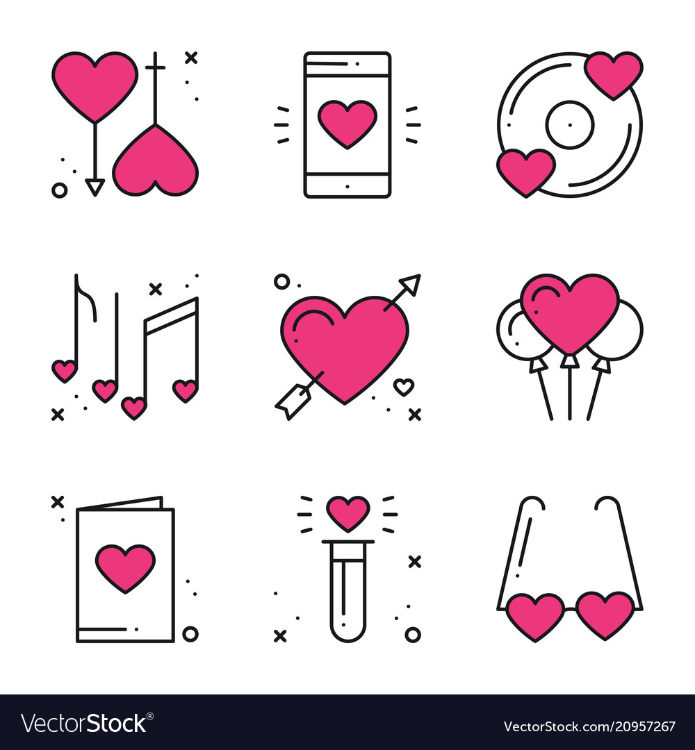 Love line icons set happy valentine day signs and.